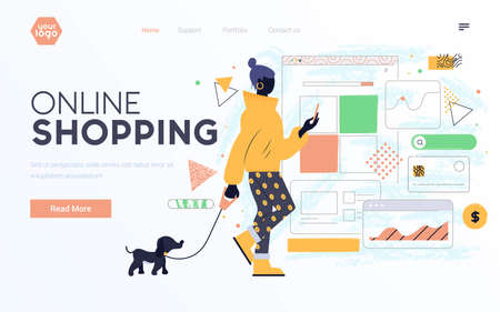 Landing page template or presentation template of Online Shopping. Young woman with mobile phone. Modern flat design businss concept. Easy to edit and customize. Vector illustration Ilustración de vector
