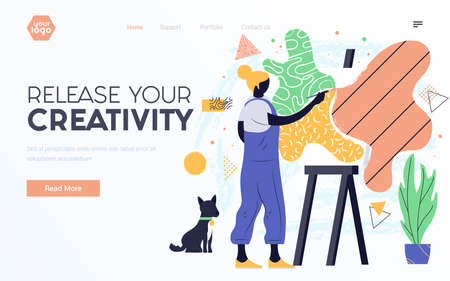 Landing page template or presentation template of Release your Creativity. Young woman painting. Modern flat design businss concept. Easy to edit and customize. Vector illustration