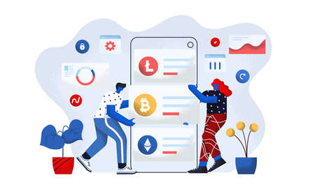 Modern flat design concept of Cryptocurrency Exchange. Young man and woman working together on project. M-banking and Trading concept. Easy to edit and customize. Vector illustration Ilustração
