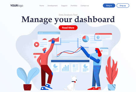 Landing page template of Dashboard Management. Young man and woman working together on project. Modern flat design businss concept. Easy to edit and customize. Vector illustration