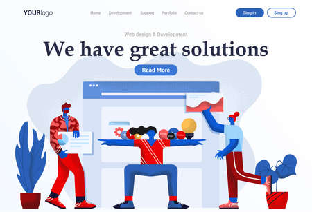 Landing page template of Web Design and Development. Young people working together as team. Modern flat design concept of web page design for website and mobile website. Easy to edit and customize. Vector illustration