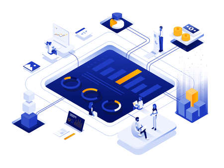Modern flat design isometric illustration of Digital Marketing. Can be used for website and mobile website or Landing page. Easy to edit and customize. Vector illustration 写真素材 - 143372432