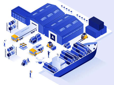 Modern flat design isometric illustration of Warehouse and Logistic. Can be used for website and mobile website or Landing page. Easy to edit and customize. Vector illustration  イラスト・ベクター素材