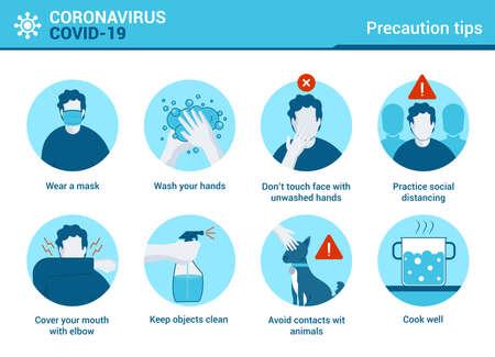 Infografik zum Coronavirus Covid-19. Coronovirus-Warnung. Tipps zur Virenvorsorge. Vektor-Illustration Vektorgrafik