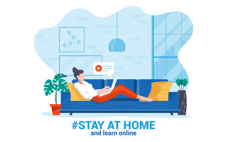 Stay at home awareness social media campaign and coronavirus prevention. Young woman learning online at home. Vector illustration