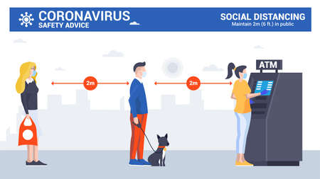 Social distancing and coronavirus covid-19 prevention. Keep distance in public society people to protect from COVID-19 coronavirus outbreak spreading concept. Vector Illustration 矢量图像