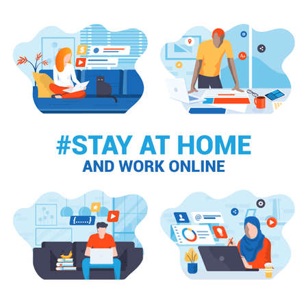 Stay at home awareness social media campaign and coronavirus prevention. Set of young people working from home. Vector illustration