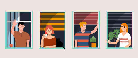 Stay at home, concept design. Set of different types of people looking out and communicating with their neighbors. Self isolation, quarantine during coronavirus outbreak. Vector Illustration 벡터 (일러스트)