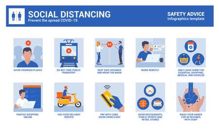 Social Distancing during coronavirus epidemic. Safety advice infographics. Vector Illustration Vecteurs