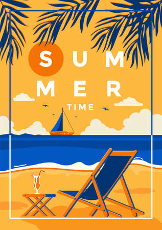 A vintage style poster with a tropical beach and a deck chair on the beach. Summer holiday poster flat design. Vector Illustration