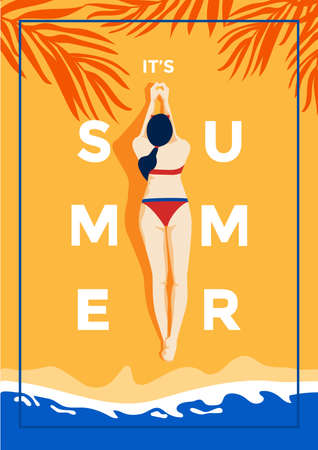 A vintage style poster with a tropical beach and a woman laying on the sand. Summer holiday poster flat design. Vector Illustration