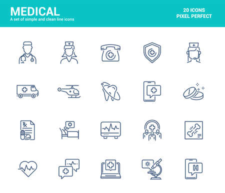 Simple Set of Midical and Healthcare Line Icons. Online Healthcare, Treatment, Doctor, Dentist, etc. Editable Vector Icons