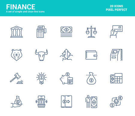 Simple Set of Finance Line Icons. E-commerce, Investment, Stock Market, Banking and Accounting elements. Editable Vector Icons Archivio Fotografico - 151065379