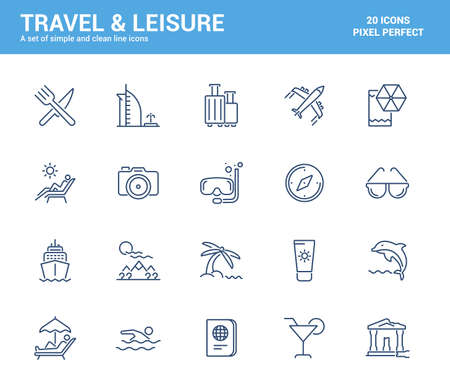 Simple Set of Travel and Leisure Line Icons. Summer Vacation, Saile, Restaraunt, Diving, etc. Editable Vector Icons