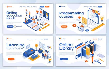 Set of Landing page design templates for Online Education, Programming course, Learning from home and Online library. Easy to edit and customize. Modern Vector illustration concepts for websites