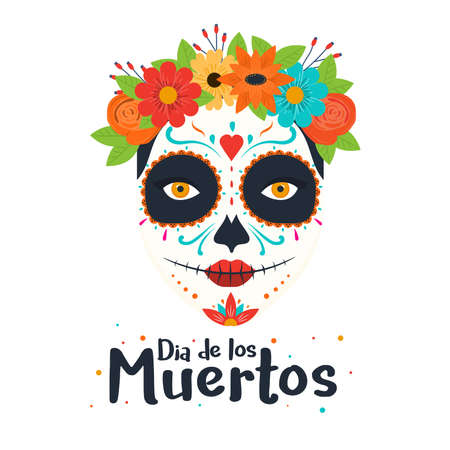 Day of the dead, Dia de los muertos, banner with colorful Mexican flowers. Fiesta, holiday poster, party flyer, funny greeting card. Vector Illustration