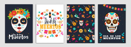 Dia de los Muertos, Day of the Dead Brochure Design Layout Template in A4 size with ornaments on dark backgroun. Abstract Modern Backgrounds, Party poster. Vectot Illustrations