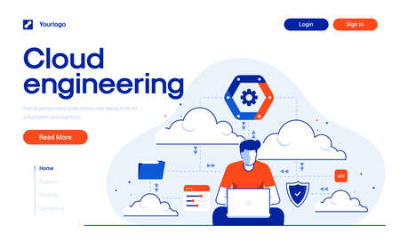 Landing page template of Cloud Engineering. Cloud Engineer with laptom and elements. Modern flat design concept of web page design for website and mobile website. Easy to edit and customize. Vector illustration