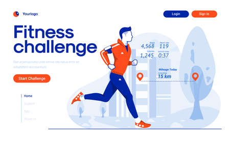 Landing page template of Fitness Challenge app. Young man running and mesure fitness data. Modern flat design concept of web page design for website and mobile website. Easy to edit and customize. Vector illustration