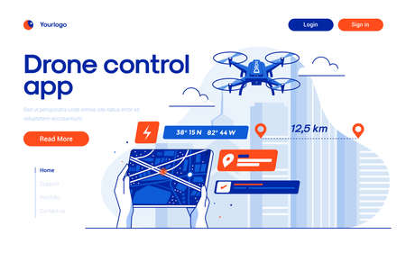 Landing page template of Drone Control app. Digital entertainment flight drone and gps elements. Modern flat design concept of web page design for website and mobile website. Easy to edit and customize. Vector illustration
