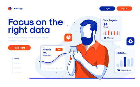 Landing page template of Focus on the right data. Young man manage data on his smartphone. Modern flat design concept of web page design for website and mobile website. Easy to edit and customize. Vector illustration
