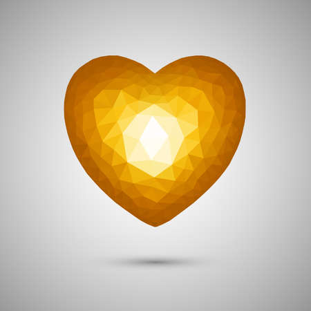 Polygonal orange heart. Low-poly. Transparent background. Vector illustration. EPS-10 Çizim
