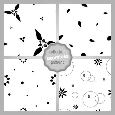 Cute seamless SET of patterns with flowers, dots and circles. Monochrome. Love, mood, romantic and Valentines Day background. Wrapping paper also. Easy and convenient to edit. Иллюстрация