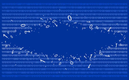 disperse: Breakthrough into binary code on blue. Background. Illustration. Vector EPS-10.