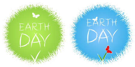 Earth Day Lettering poster with title. Green and blue slylized Globe with grass and butterflyes. Spring and Summer time. Eco. Vector illustration.
