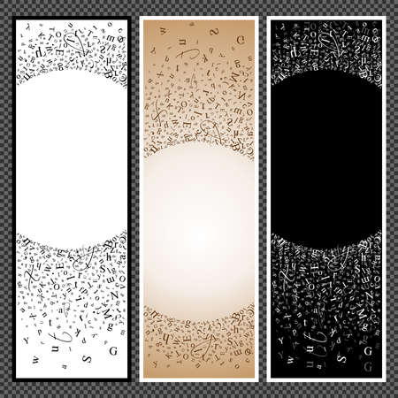 elegantly: Set of vertical banners. Banners with scatter alphabet symbols. Studying and learning concept. Vector illustration.