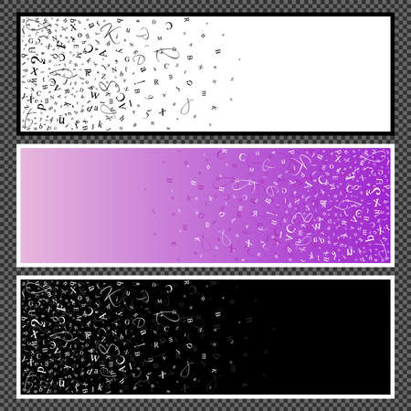 elegantly: Set of horizontal banners. Banners with scatter alphabet symbols. Studying and learning concept. Vector illustration.
