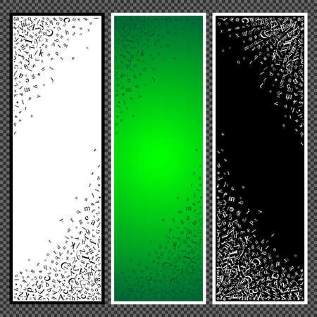 Ensemble de bannières verticales. Bannières avec des symboles de l'alphabet scatter. Étudier et apprendre le concept. Illustration vectorielle Banque d'images - 75310323