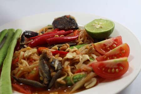 Papaya salad for Thai food then Thai language is SOM THAM THAI POO