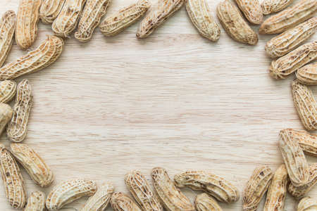 goober: Boiled peanuts frame on wood plate