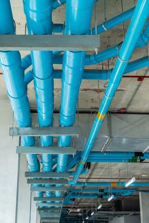 Pipeline system under floor Stock Photo