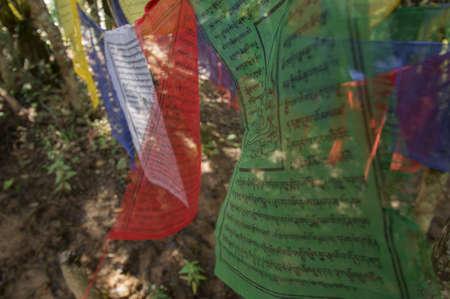 Prayer flags at Taktsang monastery Bhutan