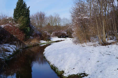ditch: A ditch surrounded by snow