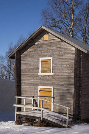 barrack: Old barn in Lapland Stock Photo