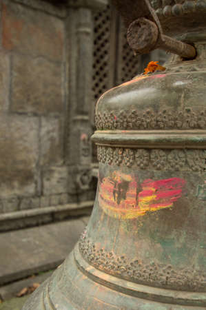 ritual: Close up of a ritual bell at Pashpatinath Stock Photo