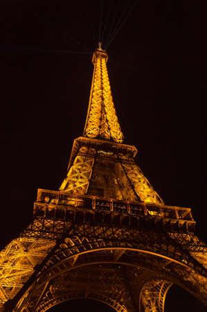 illuminated: Eiffel tower illuminated at night