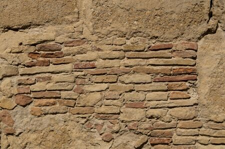 Exposed brick wall on a castle in Cadiz