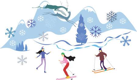 Fun winter sport activities in mountains.