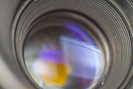 Camera lenses retro style closeup macro photo Stock Photo
