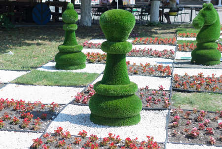 large chess pieces out of the grass in the open air architecture decorative