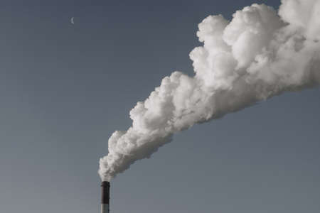 Pollution Power Plant smoke pollution emission of gas into the atmosphere Stock Photo