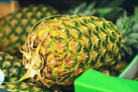 pineapple close-up on the market counter
