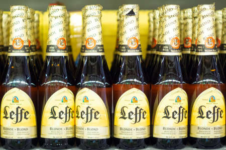 Volzhsky, Russia - apr 26, 2019: Products of hypermarket sale of alcoholic Belgian beer leffe sale of alcoholic beverages in the metro store cash and carry