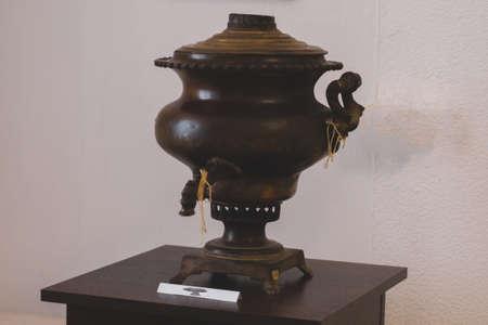 Volzhsky, Russia - apr 26, 2019: old Russian kettle samovar Museum