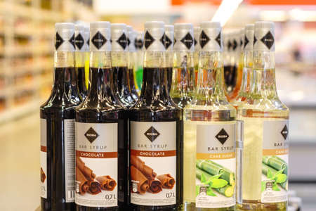 Volzhsky, Russia - june 26, 2019: Products of hypermarket sale syrup Rioba beverages in the metro store cash and carry