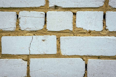 texture background of old white brick wall close-up Banco de Imagens